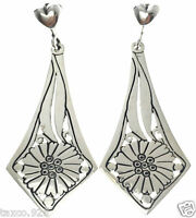 MOLINA TAXCO MEXICAN STERLING SILVER FLORAL FLOWER HANGING EARRINGS MEXICO