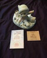 """Precious Moments- Christmas Angels On Earth 4""""X5"""" 1996 New In Box Opened Box."""