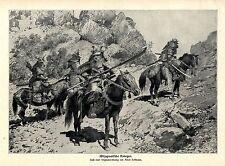 Altjapanische Krieger Samurai Grafik von Anton Hoffmann von 1904