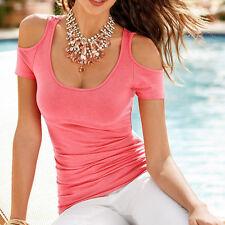 Plus Size Women Short Sleeve T Shirt Blouse Ladies Summer Off Shoulder Loose Top