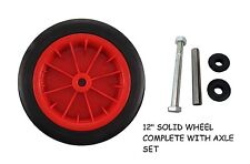 "12"" RED SOLID WHEELBARROW / WHEEL BARROW WHEEL TYRE - PUNCTURE PROOF WITH  AXLE"