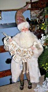 """NIB Large 20"""" Old World SANTA Father Christmas w/ Christmas Banner Prop Display"""