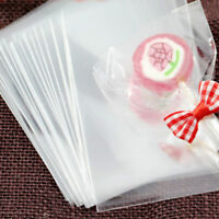 100Pcs Transparent Kraft plastic Bags for Candy, Cookies, Doughnut, Crafts Party