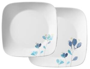 1 Corelle Square DALENA Choose DINNER or LUNCH PLATE *Cobalt Blue Yellow Flowers