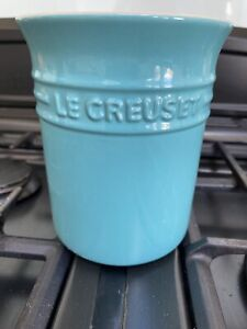 LE CREUSET Stoneware LARGE (15x10cm) Utensil Holder Jar / Pot, Teal / Green