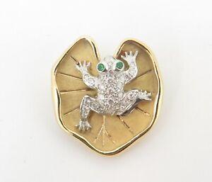.Vintage Tiffany & Co 18k Gold & Diamond Set Frog & Lily Pad Brooch - Rare