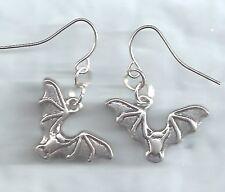 Flying Bat earrings-dk silver tibetan alloy metal charm drop/dangle/hook