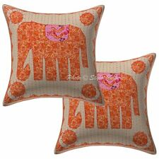 """Cotton Indian Pillow Case Cover Abstract Embroidery Sofa Cushion cover 16"""" Throw"""