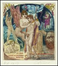 David Bekker 2000 Exlibris C4 Mythology Sphinx Erotic Nude Child Woman Sex 736