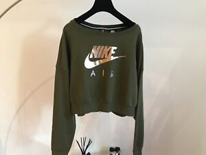 Nike crop army green jumper oversized fit zip back size M