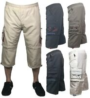 Mens 3/4 Summer Shorts 2 in 1 Elasticated Waist Cargo Combat Three Quarter Pants