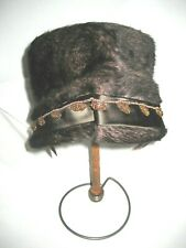 50s 60s Jan Leslie Brown Brushed Felt Fur Bucket Hat-Beaded Satin Trim-Austria