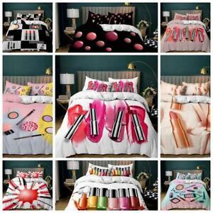 Makeup Cosmetic Quilt Duvet Cover Pillowcase Bedding Set Single Double King Size