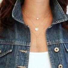 Delicado Collar Cadena de oro de larga caída en capas Barra De Oro Cristal Colgante NL34