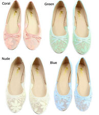 New Mixx Toni Mesh Lace Bow Tie Ballet Flats Green Blue Nude Coral Size 6-10