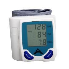New Wrist Blood Pressure Monitor & Heart Beat Meter Pulse LCD Screen White Blue