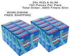 20x RIZLA SLIM CIGARETTE ROLLING FILTER TIPS 6mm (20packs X 150 TIPS)