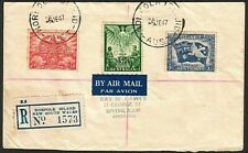 NORFOLK IS 1947 registered cover - Australia Peace set - Norfolk cds.......77356