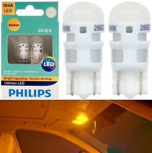 Philips Ultinon LED Light 194 Amber Orange Two Bulbs Interior Dome Replace Lamp
