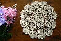 Hand CROCHET DOILIES - Cotton CREAM Round Approx 21-22cm across EACH
