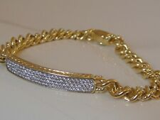$6350 DAVID YURMAN 18K GOLD CURB CHAIN ID DIAMOND BRACELET