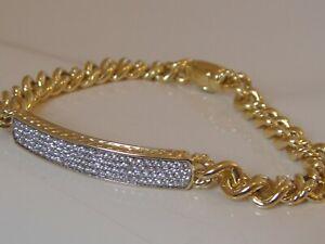 $6350 DAVID YURMAN 18K GOLD CURB CHAIN ID DIAMOND BRACELET