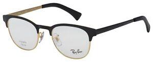 Ray-Ban Eyeglasses RX 6317 2833 51 Matte Black; Gold Frame [51-20-145]