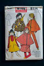 Vintage Le-Roy Weldons 8774 pattern 1960s 1970s girls A line minidress & poncho