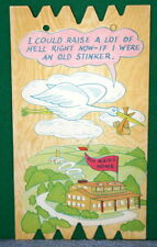 Vintage KOMIK KARD POSTCARD PLAK Comical Post Card - Stork Carrying Baby
