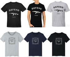 Defend Gun AK47 Print T-shirt Round Neck Top Tee Shirt Paris Cleveland Cavaliers