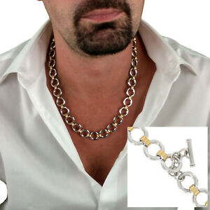 """Rochet Mens Chain Link Necklace Stainless Steel Techno Gold Circles 22"""""""
