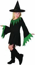 Sorcière Noir/Vert (Chapeau Inclus) (Grand ), Enfants Costume Enfant, Halloween