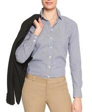 Banana Republic Factory Womens Tailored Non-Iron Long Sleeve Blue Stripe Shir 12