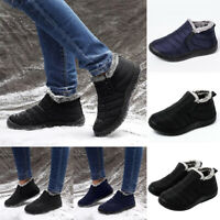 Men Winter Snow Ankle Boots Slippers Fur Lined Outdoor Waterproof Warm Shoes