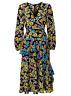 Brand New Ex Wallis Black Floral Print Tiered Wrap Midi Dress Size 8-20