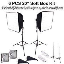 6PCS Photo Studio Softbox Light Kit Photography Video Soft Box w/ LED/CFL Socket