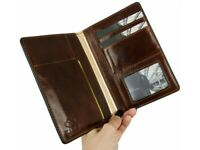 ITALIAN LEATHER CAR DOCUMENT HOLDER AUTO WALLET GENUINE NEW