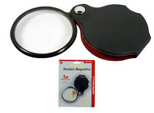 """5X Magnifier Magnifying 2"""" Glass Lens Handheld Folding Hand Held Pouch"""
