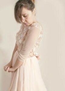 Short bridesmaid lace ,blush gold party dress 3/4 tulle sleeves