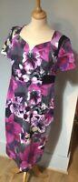 Per Una womens Knee Length Pencil Dress Floral UK Size 14 Pink Mix BNWOT