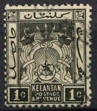 Kelantan 1921-8 SG#15, 1c Black Used #D9954