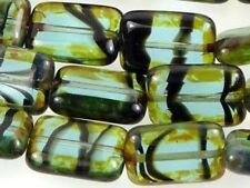 12x8mm Czech Glass Rectangle Beads Teal Tortoise - Picasso (12)