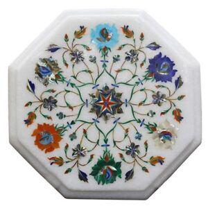 "12"" Marble Table Top Inlaid Floral semi precious stones handicraft art"