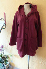 BORIS INDUSTRIES Long Jacke Fleece mit Kapuze 44 46 NEU! bordeaux LAGENLOOK