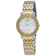 Citizen Silhouette Crystal Mother Of Pearl Dial Ladies Two Tone Watch EX1484-57D