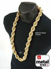 Mens Hip Hop Iced Out 14K Gold Finish Hollow Chunky Rope Chain Necklace 25mm 36""