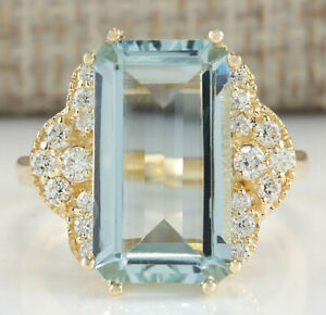 6.40 Carat Natural Aquamarine 14K Yellow Gold Diamond Ring