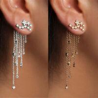 Women Crystal Rhinestone Star Long Tassel Drop Dangle Stud Earrings Jewelry Gift