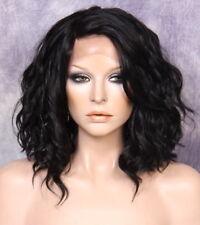 Full Lace Front Wig Bob Loose Beachy natural wavy Off Black side part 1B
