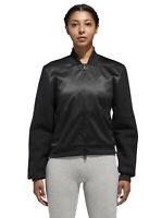 ADIDAS Women's ID Sherpa Full Zip Jacket sz L Large Black Satin Wool Varsity